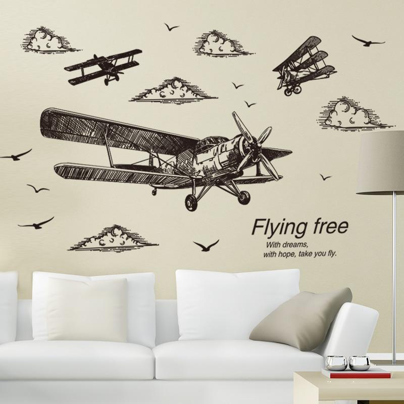 [SHIJUEHEZI] Freehand Sketching Stijl Vliegtuig Muurstickers Vinyl DIY Vogels Muurstickers voor Woonkamer Slaapzaal Decoratie