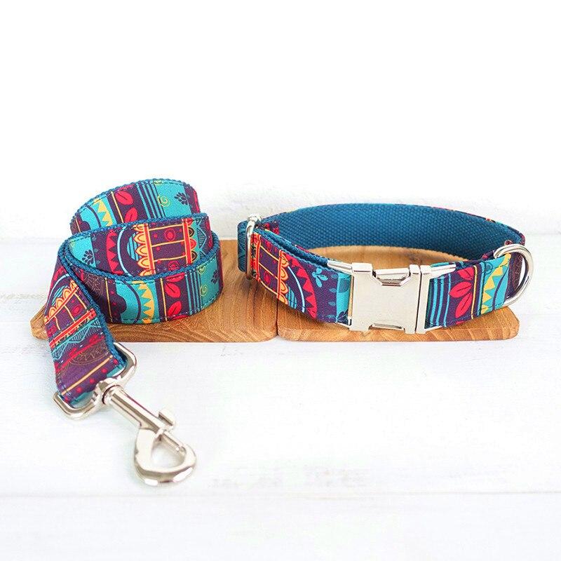 GLORIOUS KEK Luxury Designer Dog Collars Personalized ID Maya Folk Patterns Pet Collar And Leash Set Quick Release Walking Leads