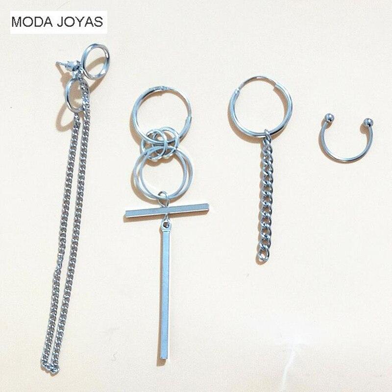 4pcs/set KPOP BTS Earring Bangtan Boys Album Silver Tassel Stud Earrings Korean Jewelry Accessories For Men Women
