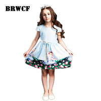 CHNDKNY 2 8 Years Girls Summer Dresses Snow White Prints Kids Dresses For Girls Party Princess