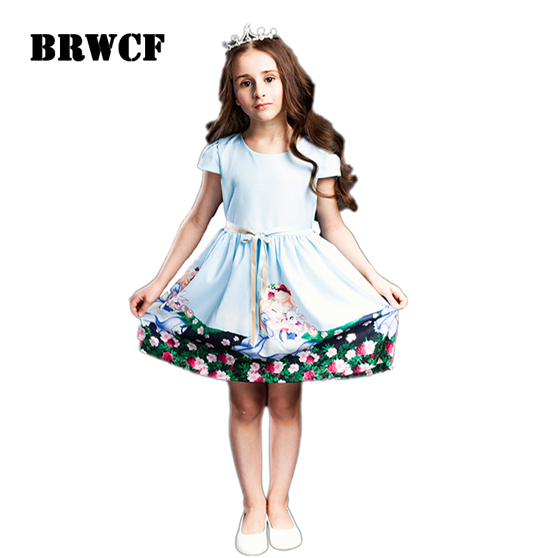 BRWCF 2-8 Years  Summer Dresses for girls Snow White prints Princess Dress For Party and Wedding 2017 kid dress for girl 2-8Y brwcf flower girls dress for party wedding birthday 2017 summer princess dresses leopard printing children clothes 2 8years
