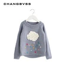 Nouveau Automne Hiver Bébé Filles Chandail Tricoté Nuage Goutte de Pluie Enfants Vêtements À Manches Longues Filles Enfants Kniwear Sweatershirt casaco