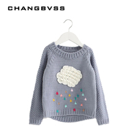 New Autumn Winter Baby Girls Knitted Sweater Cloud Raindrop Kids Clothes Long Sleeve Girls Children Kniwear