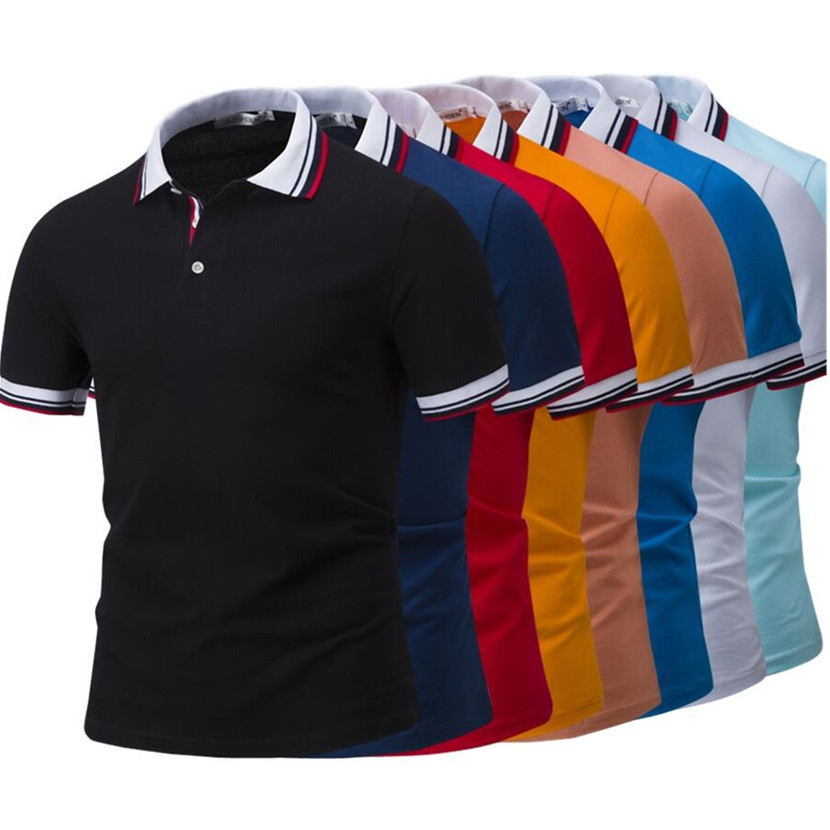 Hot Sell 2018 Summer New Fashion High Quality 100% Cotton Pure Color Of Men's Short Sleeve   POLO   Shirt I leisure men shirt M-4XL