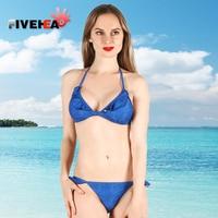 VIJF HOOFD 2018 Dame lotusblad rand pure kleur sexy bikini kan aanpassen tie riem, lage taille comfortabel ondergoed