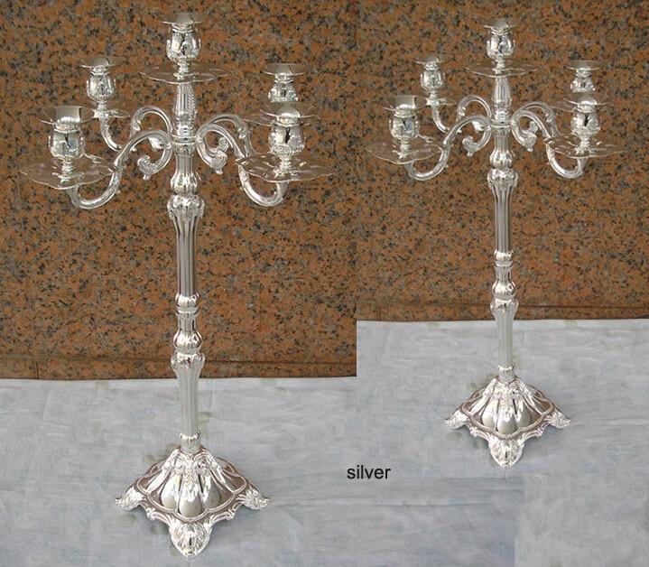 H65cm ouro / siver castiçais candelabros de 5 braços candelabros de - Decoração de casa - Foto 2