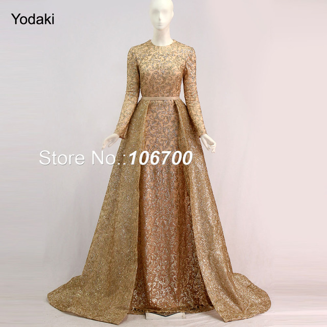 a3d40e5834d Real Photos Detachable Tail Formal Evening Dresses Glitter Fabric Long  Sleeves O Neck Gold Color Pageant Prom Gowns New Arrival