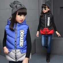 2016 Dongkuan big virgin girls down jacket children's clothing girls down vest children letter styles baby clothing US Size