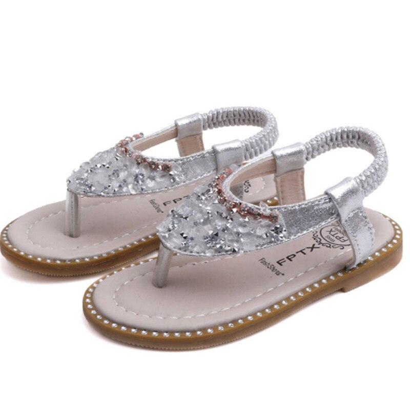 Xinfstreet Baby Girls Sandals Bling Rhinestone Princess Children Shoes Toddler Beach Sandals Kids Summer Shoes Size 21-30