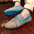 2016 Nuevo Verano Zapatos de Los Planos de Los Hombres Zapatos Mocasines Hombres Zapatos de Lona Atan Demin Moda Casual Zapatos Mocasines Envío Libre