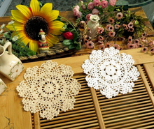 PD052 18cm white Vintage Lace round shaped placemat love hand crocheted cotton