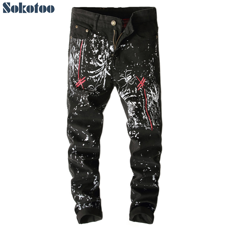 Sokotoo Mens fashion dragonfly embroidery printed jeans Black slim-fit painted long pants