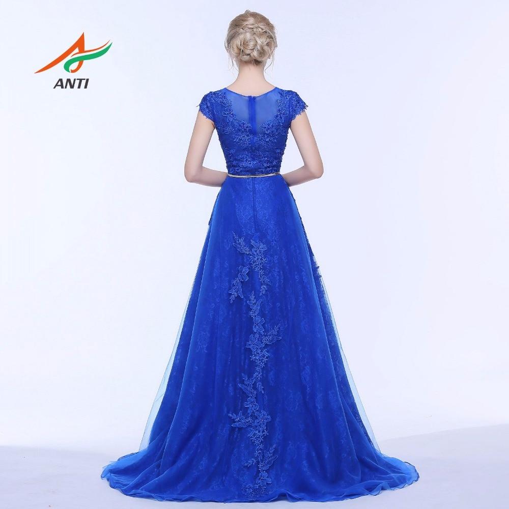 ANTI Royal Blue Mermaid Aftonklänning O-Neck Lace Två Stycken - Särskilda tillfällen klänningar - Foto 3