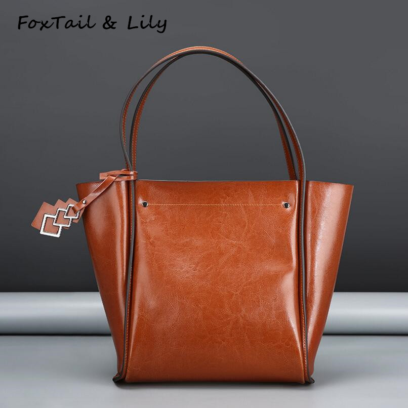 Foxtail & Lily Wax Leather Women Tote Shoulder Bags Vintage Genuine Leather Designer Handbags High Quality Luxury Brand Hot Sale high quality iron wire frame sun glasses women retro vintage 51mm round sn2180 men women brand designer lunettes oculos de sol