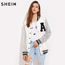 SHEIN A Patch Sequin Sleeve Stripe Trim Baseball Jacket Autumn Womens Jackets and Coats Color Block Single Breasted Jacket