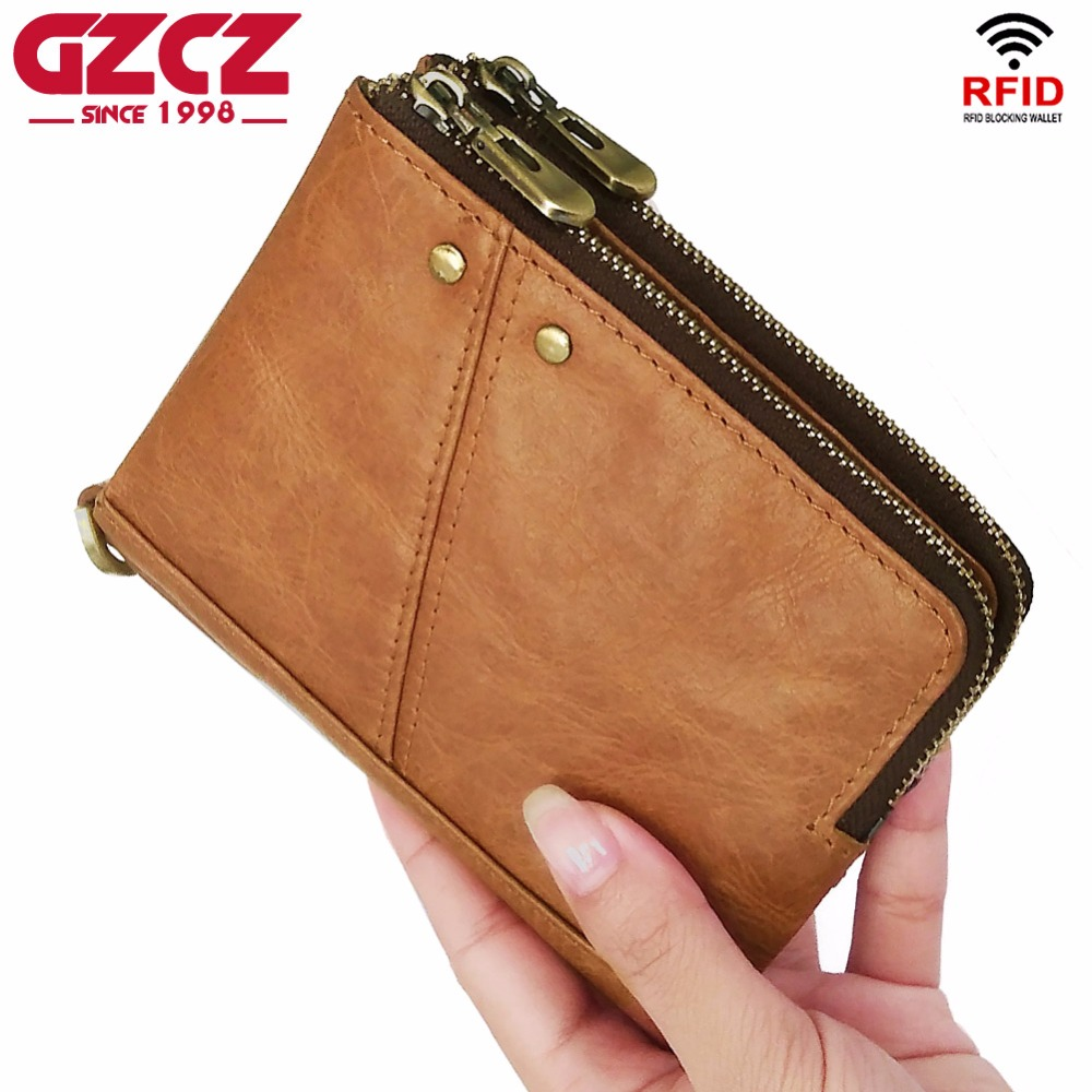 GZCZ Lady Zipper Short Clutch Wallet Genuine Leather Fashion Small Female Purse Short Coin Purse Vintage Carteira For Rfid Walet
