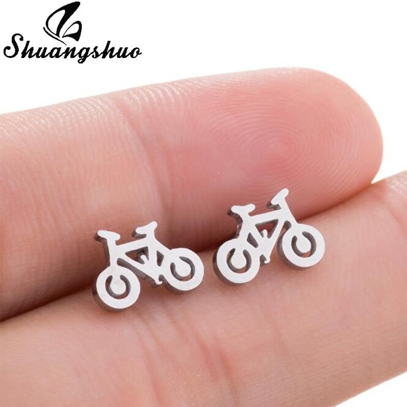 Shuangshuo New Arrival Fashion Bicycle Stainless Steel Earrings Cute Bike Design Stud Earrings for Women Vintage Jewelry Earing