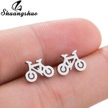 Shuangshuo, recién llegado, pendientes de moda de acero inoxidable para bicicleta, bonitos pendientes de tuerca con diseño de bicicleta para mujer, joyería de pendientes Vintage