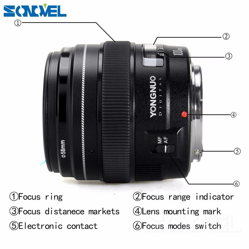 2016 NOUVEAU Yongnuo YN100mm F2 Moyen Téléobjectif Premier Objectif pour Canon EOS Rebel Caméra AF MF 5D4 1300D 800D 760D 750D 77D 60Da 5Ds R - 4