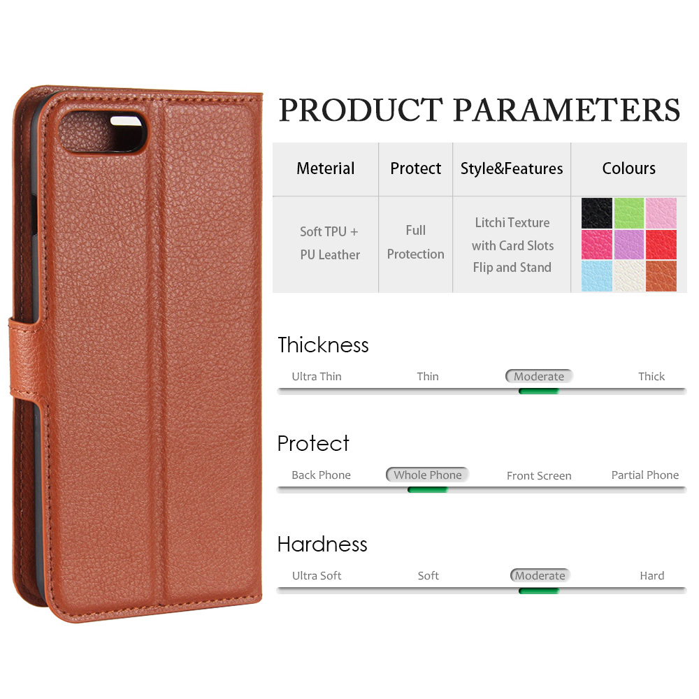 KIP7P1146_3_Litchi Texture Leather Case with Card Slots & Stand for iPhone 7 Plus