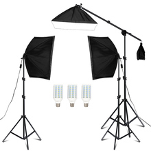 20W Photography Studio Lighting Kit Arm for Video and YouTube Continuous Lighting 50CM*70CM Professional Lighting Set Softbox 50 70cm continuous lighting softbox 4 lamp holder cross bar double pulley horizontal arm photography kit 45w 5500k bulbs 4pcs