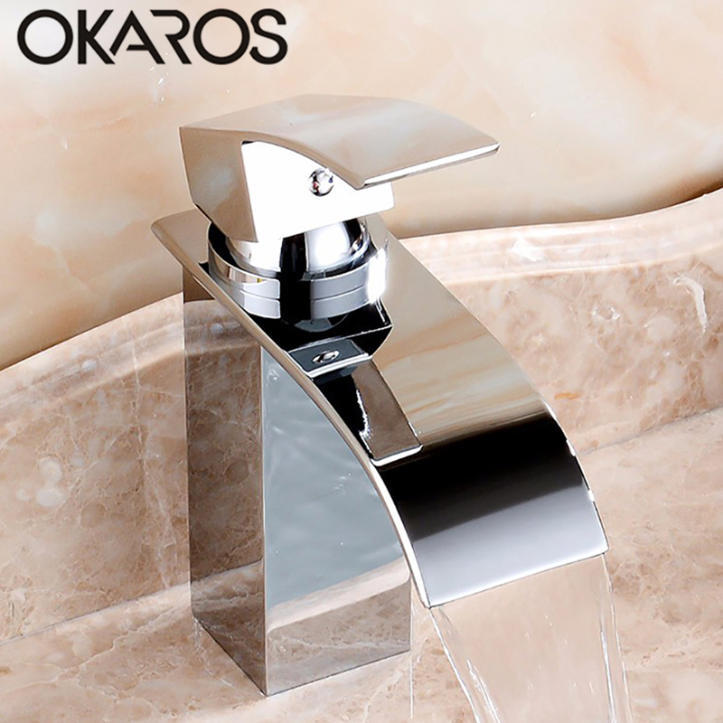 7 Faucet Finishes For Fabulous Bathrooms: OKAROS Bathroom Basin Faucet Waterfall Faucet Chrome Black