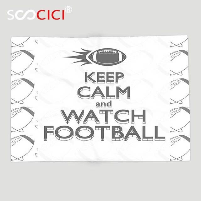 Custom Soft Fleece Throw Blanket Football American Sport Play Keep Adorable Keep Calm And Throw A Blanket On It