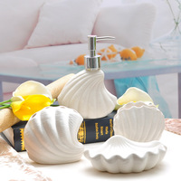 2015 Mediterranean style ceramic sanitary supplies family of four Sea Shell bathroom suite Cups toothbrush holder soap holder
