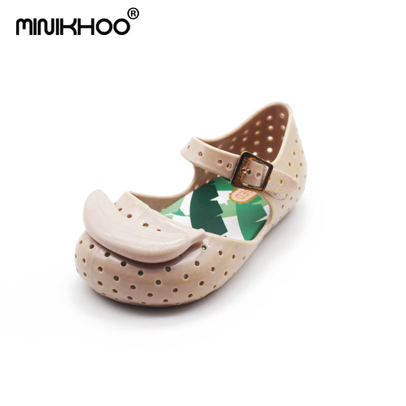 Mini Melissa FURADINHA IX Banana Children Shoes Girls Jelly Sandals Shoes Breathable Children Baby Sandals MINI SED 14cm-16.5cm