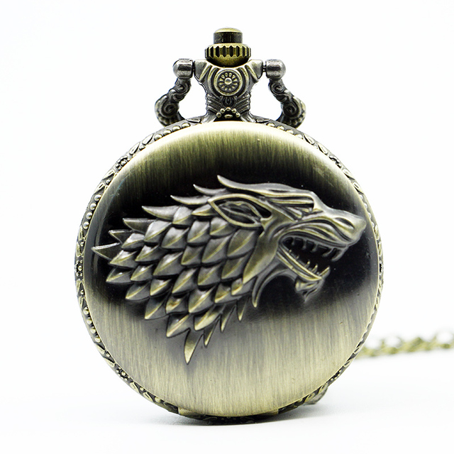 Retro Bronze Steampunk Pocket Watch game of Thrones House Strak Winter is Coming