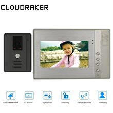 CLOUDRAKER Intercom System 1x Metal Texture Monitor with 1x720P Wired Door Phone Camera 7 Inch Video Intercom Doorbell цена в Москве и Питере