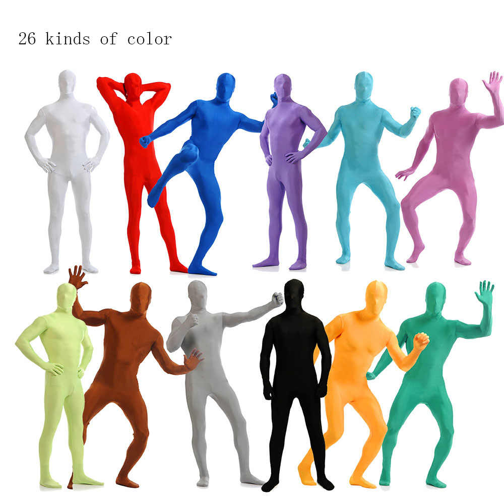 Amiliashp Unisex Halloween Costume Zentai Suit Full Body Spandex Shiny Metallic Unitard Second Skin Bodysuit Super Suit