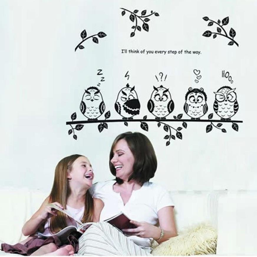 Wall Stickers Cute Owl Birds Removable Vinyl Kids Baby Home Decor Mural Wall Stickers Decal for kids rooms XT
