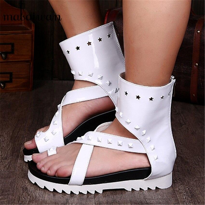 Summer Men White Sandals Beach Flats Flip Flops Platform Sandalias Hombres Flat Shoes Back Zipper Beach Shoes