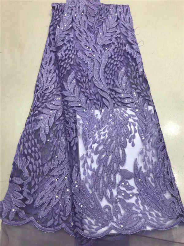 2018 di Alta Qualità Africano Tessuto di Pizzo Blu Royal Francese Tessuto Del Merletto Netto Del Ricamo di Paillettes Tulle 3d Per Nigeriano partito del Vestito