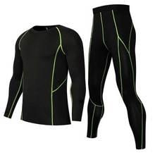 Для мужчин быстросохнущие кальсоны Зимний Фитнес Gymming спортивный костюм одежда работает топ рубашки+ Обтягивающие Леггинсы термобелье наборы