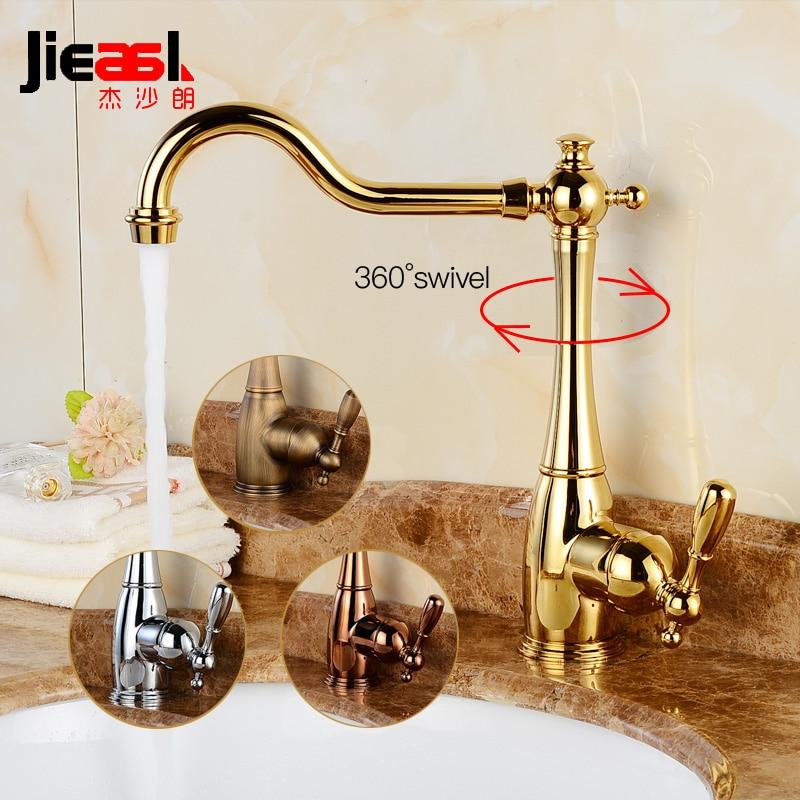 Robinet de salle de bains pivotant de luxe or Vintage bassin robinet Chrome bassin mitigeur 360 degrés Bronze robinet de cuisine en laiton