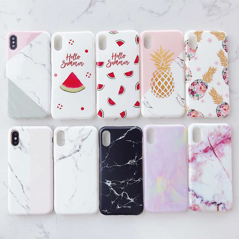 Luxury Marble โทรศัพท์กรณีสำหรับ iPhone 6 S 6s 7 8 Plus Fundas iPhone 7 Case Soft TPU Cover กรณีสำหรับ iPhone X XS MAX XR 7 plus Coque