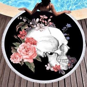 Image 2 - Toallas de playa Boho, toalla de playa de microfibra redonda con flor y cráneo de azúcar impresa para adultos, Toalla de baño grande de verano para Picnic, manta de Yoga