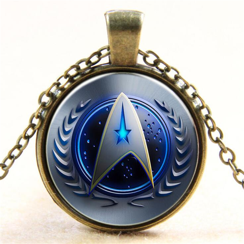 Star Trek Starfleet Command Sign Badge Handmade Time Gemstone Necklace Pendant Cosplay Accessories