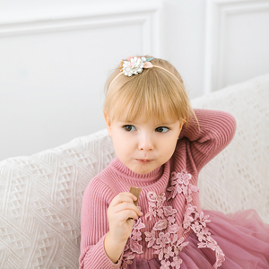 Girls Flower Nylon Headband with Pearl Vintage Floral Hair Bows Elastic Hairband For Kids Head wear Hair Accessories For Girls