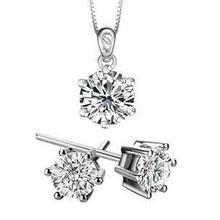 Free shipping high quality classic design super shiny zircon 925 silver jewelry sets stud earrings 45cm necklaces 1set/lot