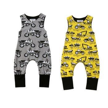 Bebé mameluco muchachos sin mangas impresión del coche mono ropa Hipster ropa de bebé