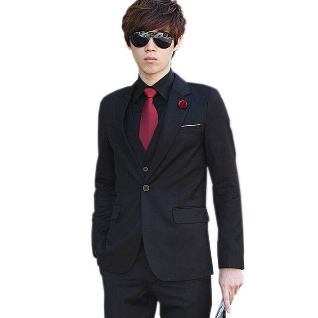 (Jacket+Pant+Tie) Luxury Men Wedding Suit Male Blazers Slim Fit Suits For Men Costume Business Formal Party Blue Classic Black 1