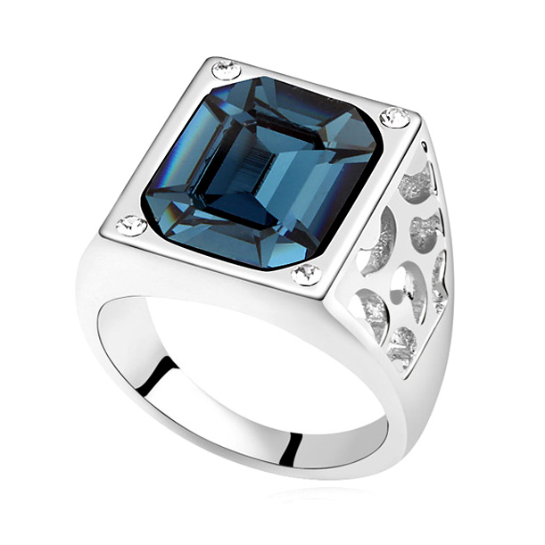 Brand Jewelry Vintage Antique White Gold Color Crystals From Swarovski Ring Big Square Stone Finger Ring Women Male Men Jewelry