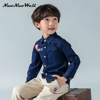 NNW HOT Sale 100 Cotton Turn Down Collar Jeans Boys Shirts Kids Clothes 2017 NEW Casual