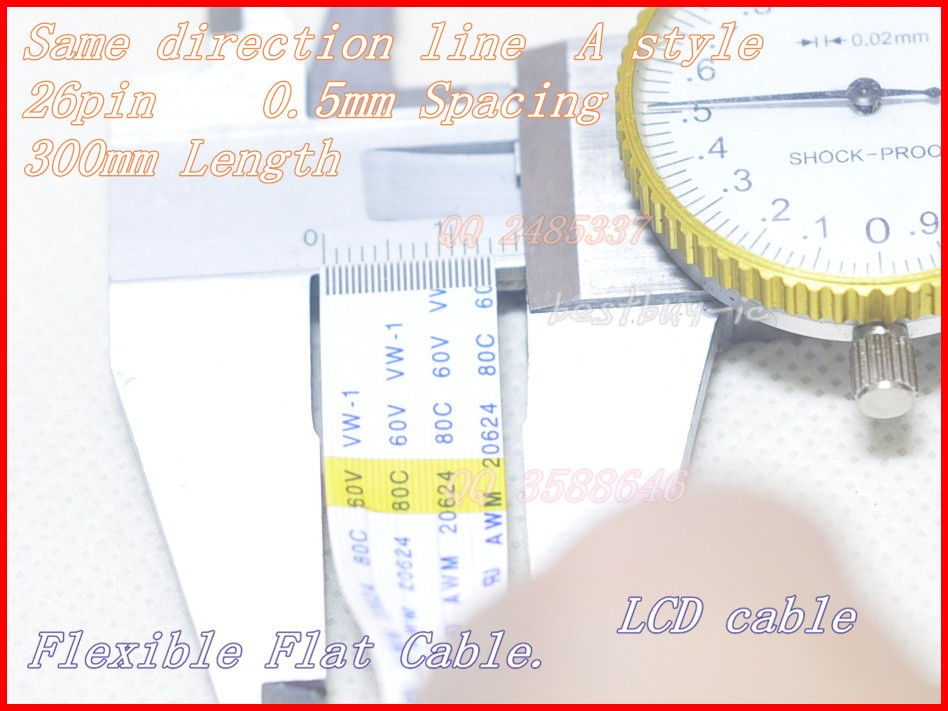 0,5mm Abstand + 300mm Länge + 26pin A/gleiche Richtung Linie Weichen Draht Ffc Flexible Flachkabel 26 P * 0.5a * 300 Mm