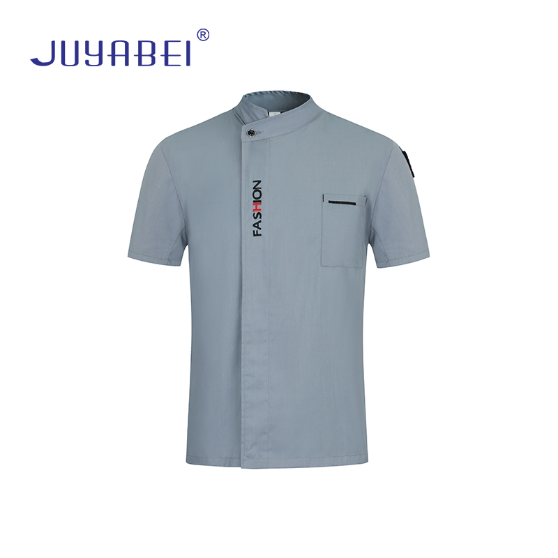 High Quality Unisex English Alphabet Embroidery Short Sleeve Chef Jacket Restaurant Food Service Overalls Cafe Waiter Uniform