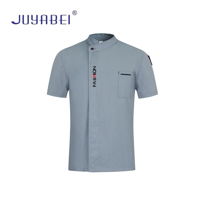 High Quality Unisex English Alphabet Embroidery Short Sleeve Chef Jacket Restaurant Food Service Overalls Cafe Waiter Uniform