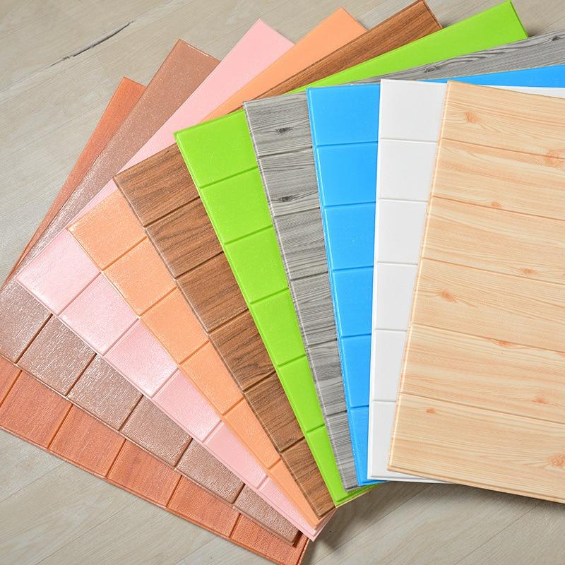 3d Wallpaper Self-adhesive Wall Stickers Wood Grain Wall Skirt Decoration Living Room Foam Anti-collision Soft Three-dimensional